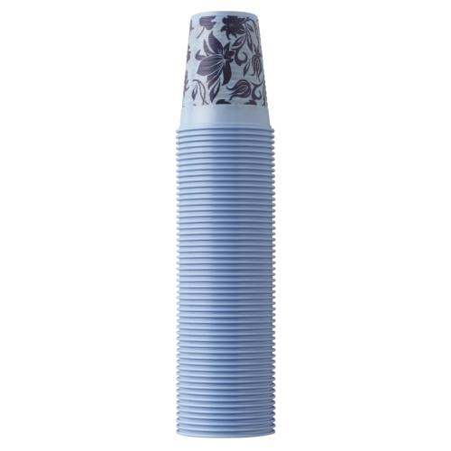 Műanyag Pohár 2dl, világoskék virágos,, 100db - EURONDA